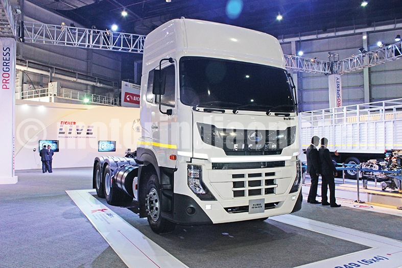 Eicher showcases truck bus range equipped with eicher live for Auto solutions motor company